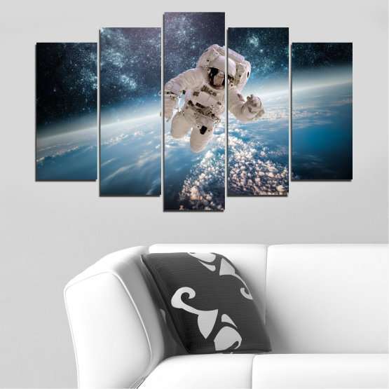 Canvas prints & wall decorative panels - 5 pieces №0726 » Black, Gray, Dark grey » Sky, Space, Art, Man Form #1