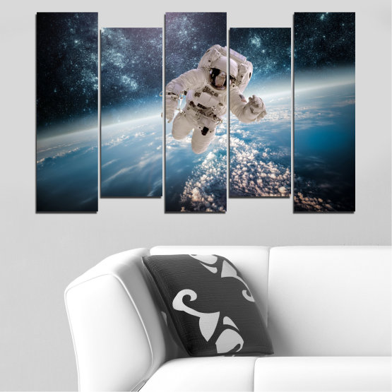 Canvas prints & wall decorative panels - 5 pieces №0726 » Black, Gray, Dark grey » Sky, Space, Art, Man Form #3