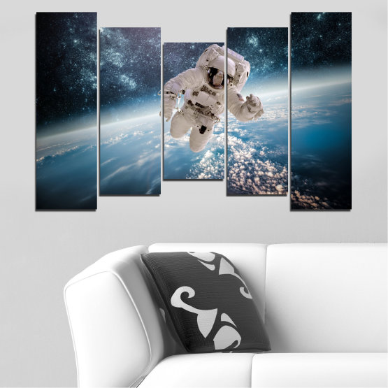 Canvas prints & wall decorative panels - 5 pieces №0726 » Black, Gray, Dark grey » Sky, Space, Art, Man Form #4