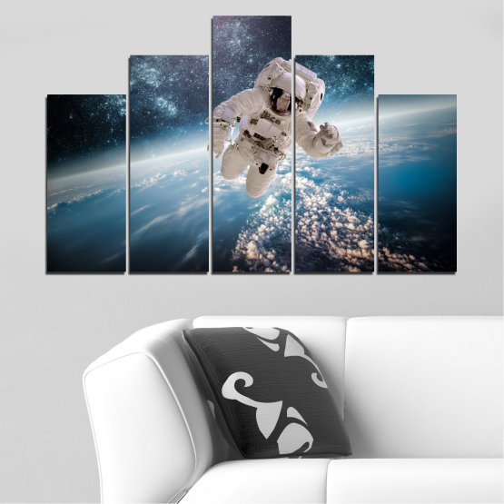 Canvas prints & wall decorative panels - 5 pieces №0726 » Black, Gray, Dark grey » Sky, Space, Art, Man Form #5