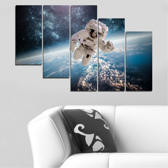 Canvas prints & wall decorative panels - 5 pieces №0726 » Black, Gray, Dark grey » Sky, Space, Art, Man Form #7