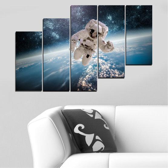 Canvas prints & wall decorative panels - 5 pieces №0726 » Black, Gray, Dark grey » Sky, Space, Art, Man Form #8