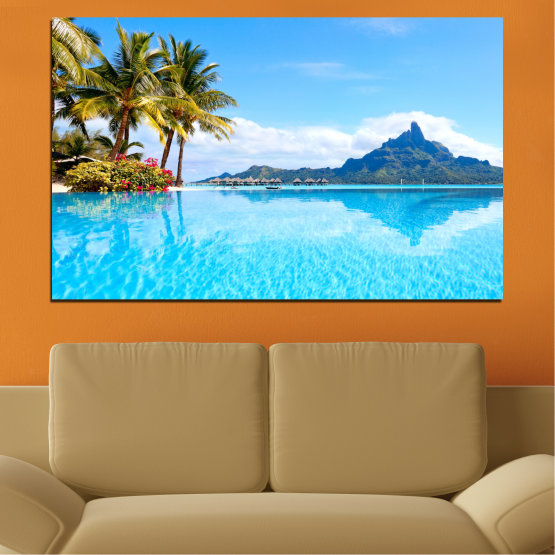 Canvas prints & wall decorative panels - 1 piece №0727 » Blue, Turquoise, Gray, White » Sea, Water, Sun, Beach, Ocean, Summer, Wave, Palm, Coast, Horizon, Paradise, Sunshine, Tropic, Holiday, Sunny, Turquoise, Relaxation, Tropical, Travel, Vacation Form #1