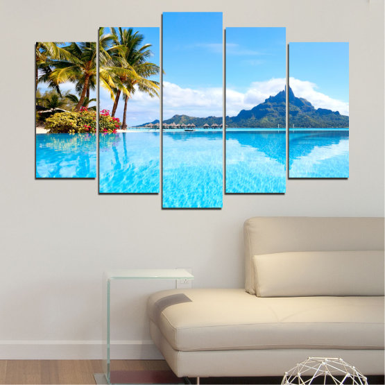 Canvas prints & wall decorative panels - 5 pieces №0727 » Blue, Turquoise, Gray, White » Water, Sea, Sun, Ocean, Beach, Summer, Wave, Palm, Paradise, Coast, Horizon, Sunshine, Tropic, Sunny, Holiday, Turquoise, Relaxation, Tropical, Travel, Vacation Form #1