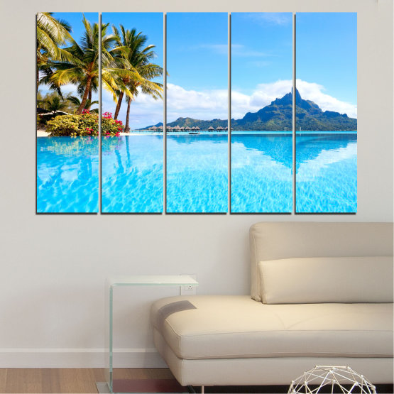 Canvas prints & wall decorative panels - 5 pieces №0727 » Blue, Turquoise, Gray, White » Water, Sea, Sun, Ocean, Beach, Summer, Wave, Palm, Paradise, Coast, Horizon, Sunshine, Tropic, Sunny, Holiday, Turquoise, Relaxation, Tropical, Travel, Vacation Form #2