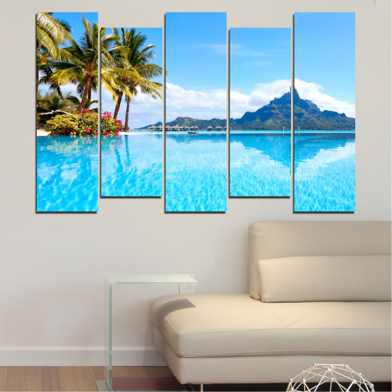 Canvas prints & wall decorative panels - 5 pieces №0727 » Blue, Turquoise, Gray, White » Water, Sea, Sun, Ocean, Beach, Summer, Wave, Palm, Paradise, Coast, Horizon, Sunshine, Tropic, Sunny, Holiday, Turquoise, Relaxation, Tropical, Travel, Vacation Form #3