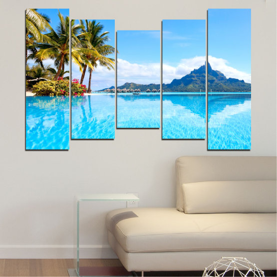 Canvas prints & wall decorative panels - 5 pieces №0727 » Blue, Turquoise, Gray, White » Water, Sea, Sun, Ocean, Beach, Summer, Wave, Palm, Paradise, Coast, Horizon, Sunshine, Tropic, Sunny, Holiday, Turquoise, Relaxation, Tropical, Travel, Vacation Form #4