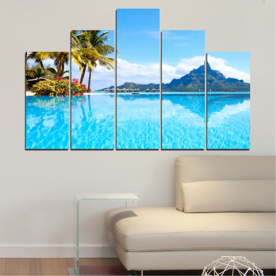 Canvas prints & wall decorative panels - 5 pieces №0727 » Blue, Turquoise, Gray, White » Water, Sea, Sun, Ocean, Beach, Summer, Wave, Palm, Paradise, Coast, Horizon, Sunshine, Tropic, Sunny, Holiday, Turquoise, Relaxation, Tropical, Travel, Vacation Form #5