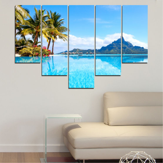 Canvas prints & wall decorative panels - 5 pieces №0727 » Blue, Turquoise, Gray, White » Water, Sea, Sun, Ocean, Beach, Summer, Wave, Palm, Paradise, Coast, Horizon, Sunshine, Tropic, Sunny, Holiday, Turquoise, Relaxation, Tropical, Travel, Vacation Form #6