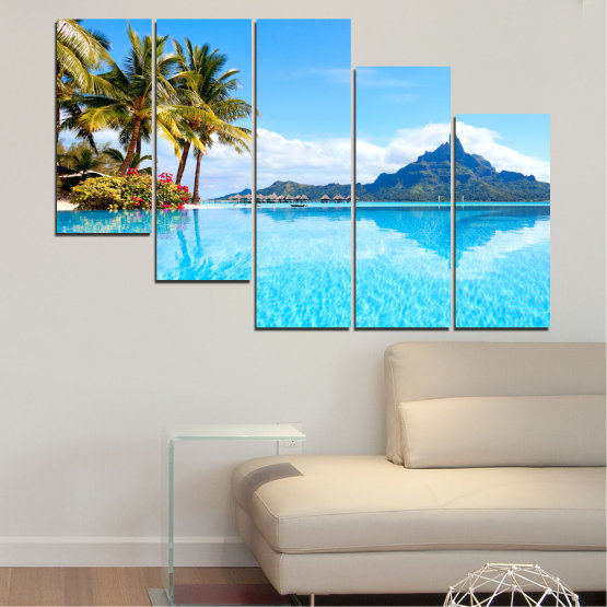 Canvas prints & wall decorative panels - 5 pieces №0727 » Blue, Turquoise, Gray, White » Water, Sea, Sun, Ocean, Beach, Summer, Wave, Palm, Paradise, Coast, Horizon, Sunshine, Tropic, Sunny, Holiday, Turquoise, Relaxation, Tropical, Travel, Vacation Form #7