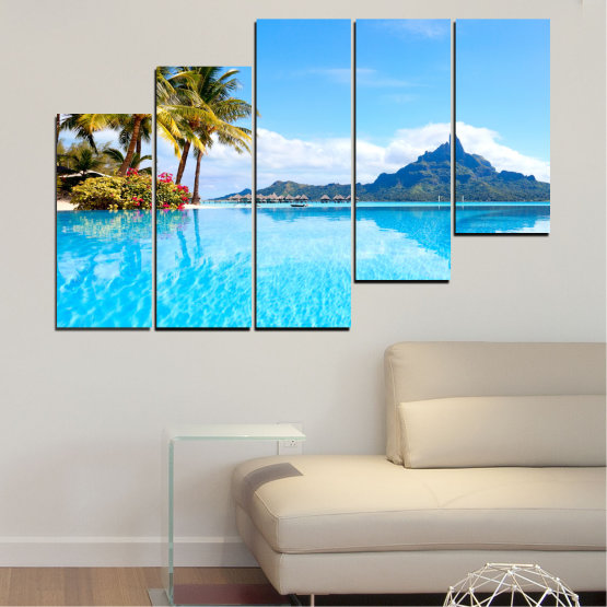 Canvas prints & wall decorative panels - 5 pieces №0727 » Blue, Turquoise, Gray, White » Water, Sea, Sun, Ocean, Beach, Summer, Wave, Palm, Paradise, Coast, Horizon, Sunshine, Tropic, Sunny, Holiday, Turquoise, Relaxation, Tropical, Travel, Vacation Form #8