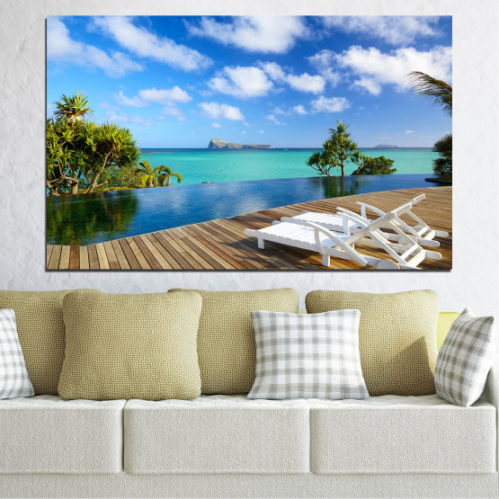 Canvas prints & wall decorative panels - 1 piece №0728 » Blue, Turquoise, Brown, Gray » Water, Sea, Sun, Ocean, Bay, Beach, Sky, Summer, Tree, Island, Wave, Sand, Palm, Paradise, Coast, Sunny, Turquoise, Tropical, Coastline, Travel, Vacation Form #1
