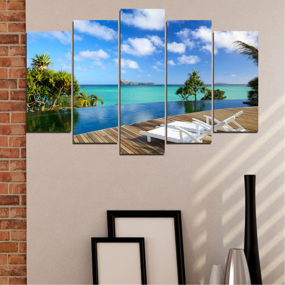Canvas prints & wall decorative panels - 5 pieces №0728 » Blue, Turquoise, Brown, Gray » Sea, Water, Sun, Ocean, Bay, Beach, Sky, Tree, Summer, Island, Wave, Palm, Sand, Paradise, Coast, Sunny, Turquoise, Tropical, Coastline, Travel, Vacation Form #1