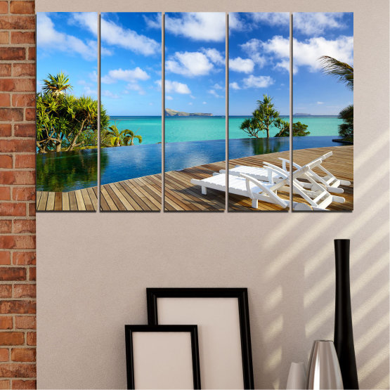 Canvas prints & wall decorative panels - 5 pieces №0728 » Blue, Turquoise, Brown, Gray » Sea, Water, Sun, Ocean, Beach, Bay, Sky, Summer, Tree, Island, Wave, Sand, Palm, Paradise, Coast, Sunny, Turquoise, Tropical, Coastline, Travel, Vacation Form #2