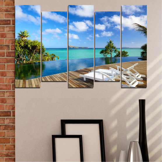 Canvas prints & wall decorative panels - 5 pieces №0728 » Blue, Turquoise, Brown, Gray » Sea, Water, Sun, Ocean, Beach, Bay, Sky, Summer, Tree, Island, Wave, Sand, Palm, Paradise, Coast, Sunny, Turquoise, Tropical, Coastline, Travel, Vacation Form #3