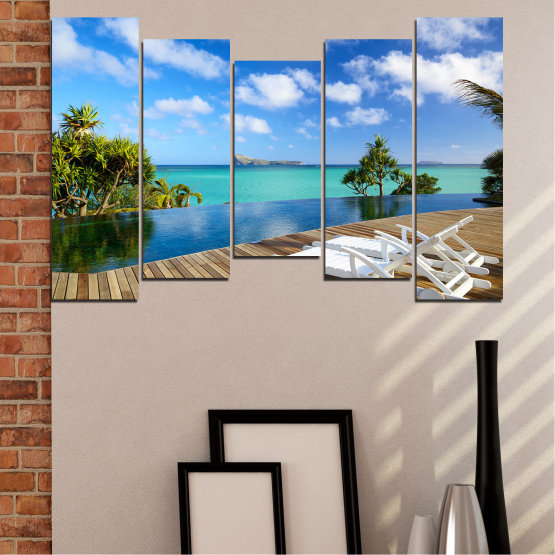 Canvas prints & wall decorative panels - 5 pieces №0728 » Blue, Turquoise, Brown, Gray » Sea, Water, Sun, Ocean, Bay, Beach, Sky, Tree, Summer, Island, Wave, Palm, Sand, Paradise, Coast, Sunny, Turquoise, Tropical, Coastline, Travel, Vacation Form #4