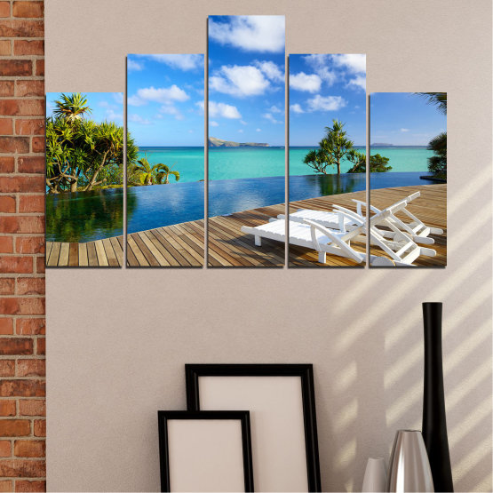 Canvas prints & wall decorative panels - 5 pieces №0728 » Blue, Turquoise, Brown, Gray » Sea, Water, Sun, Ocean, Beach, Bay, Sky, Summer, Tree, Island, Wave, Sand, Palm, Paradise, Coast, Sunny, Turquoise, Tropical, Coastline, Travel, Vacation Form #5