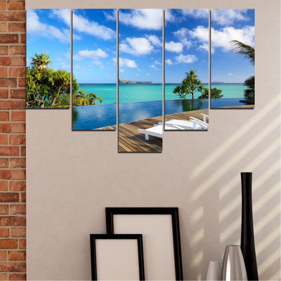 Canvas prints & wall decorative panels - 5 pieces №0728 » Blue, Turquoise, Brown, Gray » Sea, Water, Sun, Ocean, Beach, Bay, Sky, Summer, Tree, Island, Wave, Sand, Palm, Paradise, Coast, Sunny, Turquoise, Tropical, Coastline, Travel, Vacation Form #6
