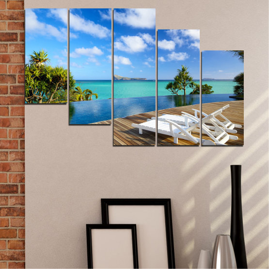 Canvas prints & wall decorative panels - 5 pieces №0728 » Blue, Turquoise, Brown, Gray » Sea, Water, Sun, Ocean, Bay, Beach, Sky, Tree, Summer, Island, Wave, Palm, Sand, Paradise, Coast, Sunny, Turquoise, Tropical, Coastline, Travel, Vacation Form #7