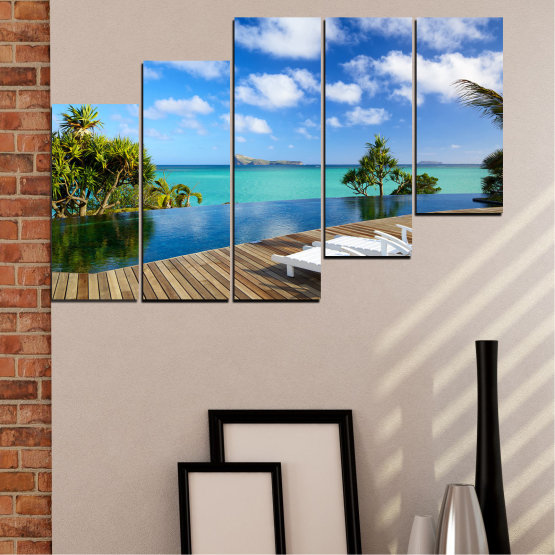 Canvas prints & wall decorative panels - 5 pieces №0728 » Blue, Turquoise, Brown, Gray » Sea, Water, Sun, Ocean, Beach, Bay, Sky, Summer, Tree, Island, Wave, Sand, Palm, Paradise, Coast, Sunny, Turquoise, Tropical, Coastline, Travel, Vacation Form #8