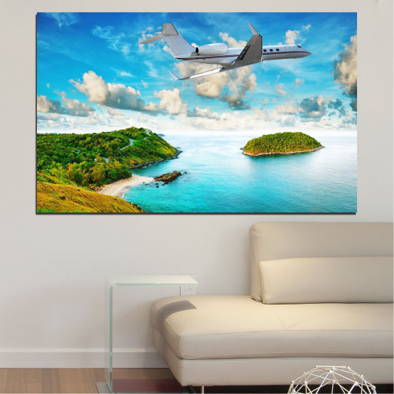 Canvas prints & wall decorative panels - 1 piece №0730 » Blue, Turquoise, Gray, White » Water, Sea, Landscape, Ocean, Beach, Sky, Summer, Relax, Island, Wave, Sand, Seascape, Coast, Exotic, Turquoise, Relaxation, Tropical, Leisure, Coastline, Travel, Vacation, Trip Form #1