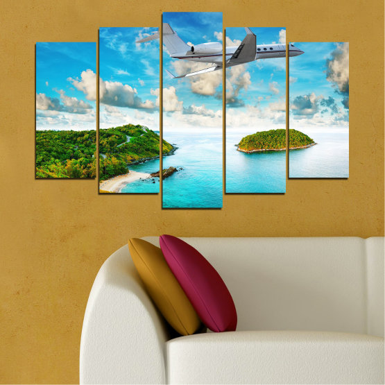 Canvas prints & wall decorative panels - 5 pieces №0730 » Blue, Turquoise, Gray, White » Landscape, Water, Sea, Beach, Ocean, Sky, Summer, Island, Relax, Wave, Sand, Seascape, Coast, Exotic, Turquoise, Relaxation, Tropical, Leisure, Coastline, Travel, Vacation, Trip Form #1