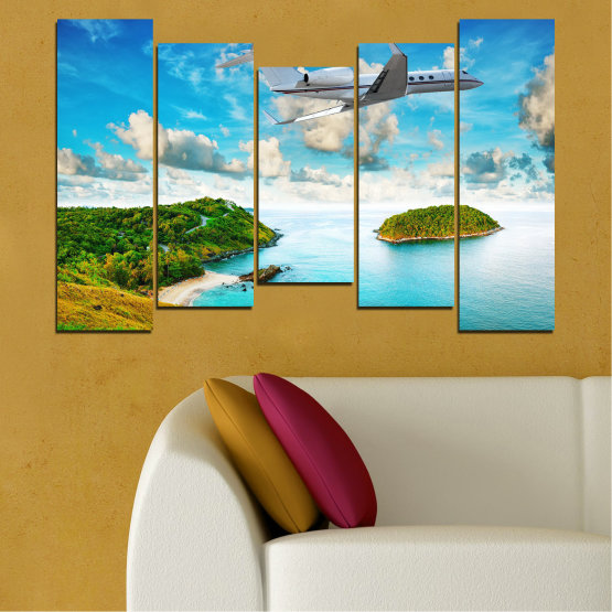 Canvas prints & wall decorative panels - 5 pieces №0730 » Blue, Turquoise, Gray, White » Landscape, Water, Sea, Beach, Ocean, Sky, Summer, Island, Relax, Wave, Sand, Seascape, Coast, Exotic, Turquoise, Relaxation, Tropical, Leisure, Coastline, Travel, Vacation, Trip Form #4