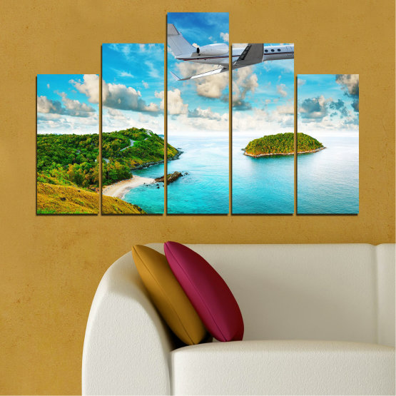 Canvas prints & wall decorative panels - 5 pieces №0730 » Blue, Turquoise, Gray, White » Landscape, Water, Sea, Beach, Ocean, Sky, Summer, Island, Relax, Wave, Sand, Seascape, Coast, Exotic, Turquoise, Relaxation, Tropical, Leisure, Coastline, Travel, Vacation, Trip Form #5