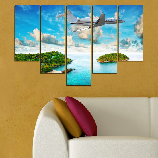 Canvas prints & wall decorative panels - 5 pieces №0730 » Blue, Turquoise, Gray, White » Landscape, Water, Sea, Beach, Ocean, Sky, Summer, Island, Relax, Wave, Sand, Seascape, Coast, Exotic, Turquoise, Relaxation, Tropical, Leisure, Coastline, Travel, Vacation, Trip Form #6