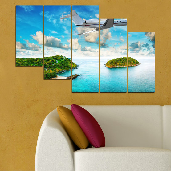 Canvas prints & wall decorative panels - 5 pieces №0730 » Blue, Turquoise, Gray, White » Landscape, Water, Sea, Beach, Ocean, Sky, Summer, Island, Relax, Wave, Sand, Seascape, Coast, Exotic, Turquoise, Relaxation, Tropical, Leisure, Coastline, Travel, Vacation, Trip Form #7