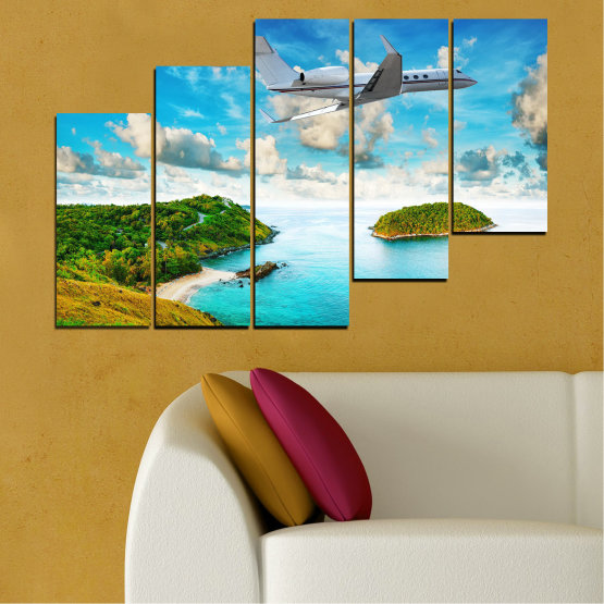 Canvas prints & wall decorative panels - 5 pieces №0730 » Blue, Turquoise, Gray, White » Landscape, Water, Sea, Beach, Ocean, Sky, Summer, Island, Relax, Wave, Sand, Seascape, Coast, Exotic, Turquoise, Relaxation, Tropical, Leisure, Coastline, Travel, Vacation, Trip Form #8