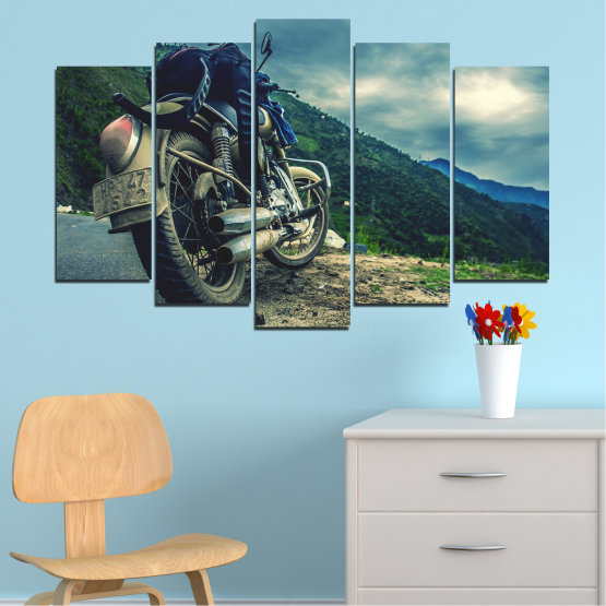 Canvas prints & wall decorative panels - 5 pieces №0731 » Blue, Black, Gray, Beige, Dark grey » Motor, Sport, Road, Motorcycle, Action, Motorbike Form #1