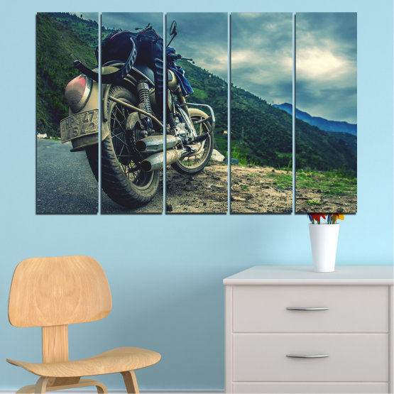 Canvas prints & wall decorative panels - 5 pieces №0731 » Blue, Black, Gray, Beige, Dark grey » Motor, Sport, Road, Motorcycle, Action, Motorbike Form #2