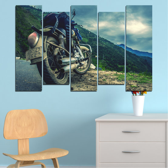 Canvas prints & wall decorative panels - 5 pieces №0731 » Blue, Black, Gray, Beige, Dark grey » Motor, Sport, Road, Motorcycle, Action, Motorbike Form #3