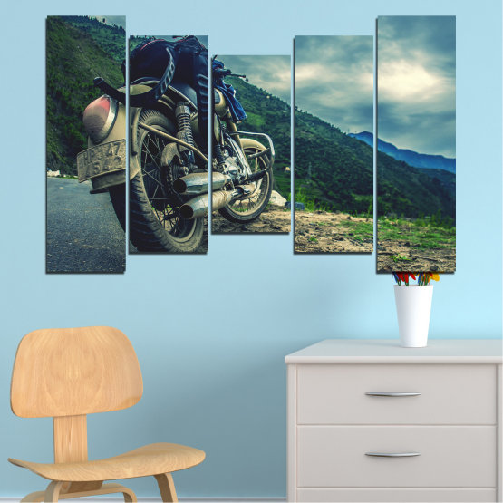 Canvas prints & wall decorative panels - 5 pieces №0731 » Blue, Black, Gray, Beige, Dark grey » Motor, Sport, Road, Motorcycle, Action, Motorbike Form #4
