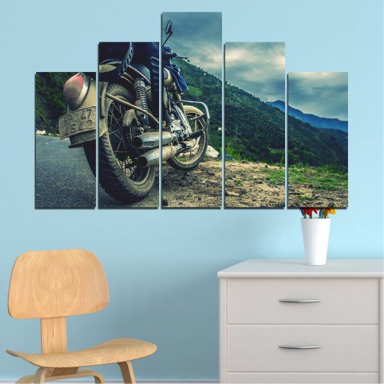 Canvas prints & wall decorative panels - 5 pieces №0731 » Blue, Black, Gray, Beige, Dark grey » Motor, Sport, Road, Motorcycle, Action, Motorbike Form #5