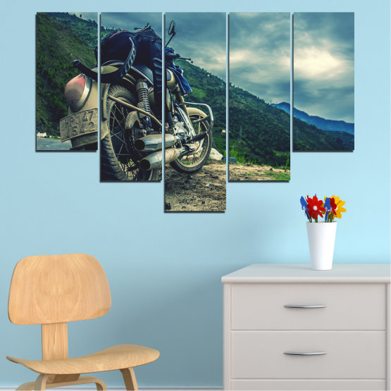Canvas prints & wall decorative panels - 5 pieces №0731 » Blue, Black, Gray, Beige, Dark grey » Motor, Sport, Road, Motorcycle, Action, Motorbike Form #6