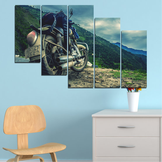 Canvas prints & wall decorative panels - 5 pieces №0731 » Blue, Black, Gray, Beige, Dark grey » Motor, Sport, Road, Motorcycle, Action, Motorbike Form #7