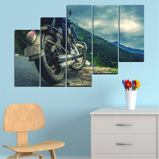 Canvas prints & wall decorative panels - 5 pieces №0731 » Blue, Black, Gray, Beige, Dark grey » Motor, Sport, Road, Motorcycle, Action, Motorbike Form #8