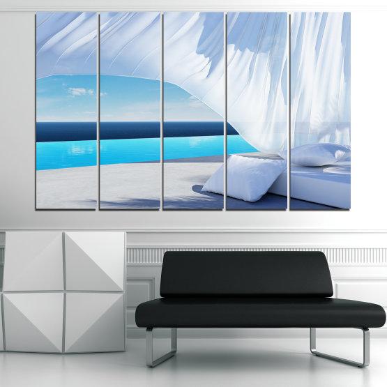 Декоративни панели и картини от канава - от 5 части №0729 » Тюркоаз, Сив, Бял » Вода, Слънце, Небе, Лято, Модерен, Празник, Слънчево Form #2