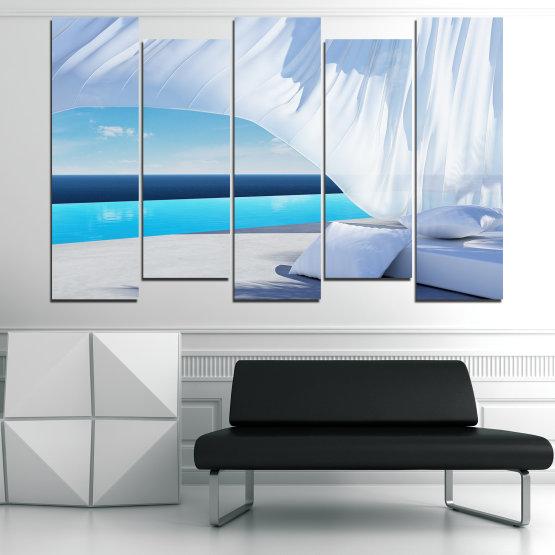 Декоративни панели и картини от канава - от 5 части №0729 » Тюркоаз, Сив, Бял » Вода, Слънце, Небе, Лято, Модерен, Празник, Слънчево Form #3