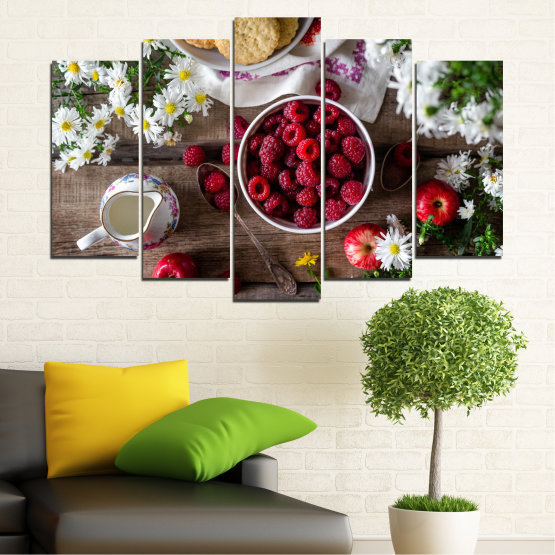 Canvas prints & wall decorative panels - 5 pieces №0732 » Red, Brown, Black, Gray, Dark grey » Summer, Fresh, Fruits, Cuisine, Nutrition, Food, Breakfast, Dessert, Fruit, Tasty, Berry, Healthy, Organic Form #1