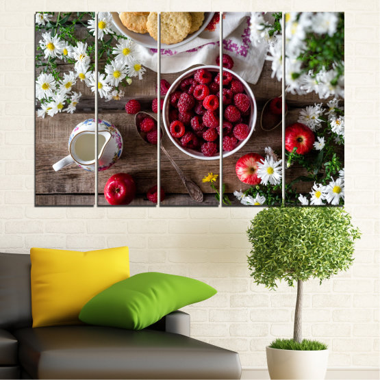 Canvas prints & wall decorative panels - 5 pieces №0732 » Red, Brown, Black, Gray, Dark grey » Summer, Fresh, Fruits, Cuisine, Nutrition, Food, Breakfast, Dessert, Fruit, Tasty, Berry, Healthy, Organic Form #2