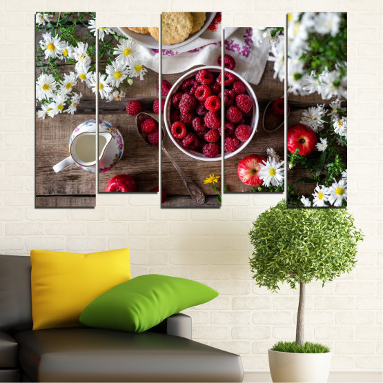 Canvas prints & wall decorative panels - 5 pieces №0732 » Red, Brown, Black, Gray, Dark grey » Summer, Fresh, Fruits, Cuisine, Nutrition, Food, Breakfast, Dessert, Fruit, Tasty, Berry, Healthy, Organic Form #3
