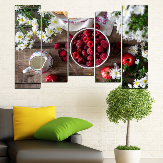 Canvas prints & wall decorative panels - 5 pieces №0732 » Red, Brown, Black, Gray, Dark grey » Summer, Fresh, Fruits, Cuisine, Nutrition, Food, Breakfast, Dessert, Fruit, Tasty, Berry, Healthy, Organic Form #4