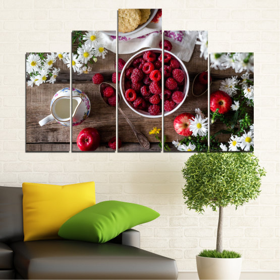 Canvas prints & wall decorative panels - 5 pieces №0732 » Red, Brown, Black, Gray, Dark grey » Summer, Fresh, Fruits, Cuisine, Nutrition, Food, Breakfast, Dessert, Fruit, Tasty, Berry, Healthy, Organic Form #5