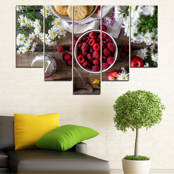 Canvas prints & wall decorative panels - 5 pieces №0732 » Red, Brown, Black, Gray, Dark grey » Summer, Fresh, Fruits, Cuisine, Nutrition, Food, Breakfast, Dessert, Fruit, Tasty, Berry, Healthy, Organic Form #6