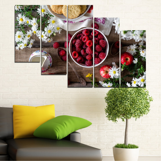 Canvas prints & wall decorative panels - 5 pieces №0732 » Red, Brown, Black, Gray, Dark grey » Summer, Fresh, Fruits, Cuisine, Nutrition, Food, Breakfast, Dessert, Fruit, Tasty, Berry, Healthy, Organic Form #7