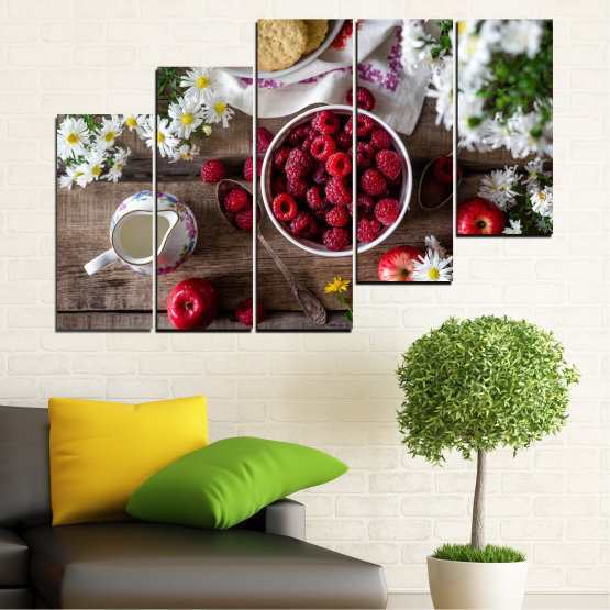 Canvas prints & wall decorative panels - 5 pieces №0732 » Red, Brown, Black, Gray, Dark grey » Summer, Fresh, Fruits, Cuisine, Nutrition, Food, Breakfast, Dessert, Fruit, Tasty, Berry, Healthy, Organic Form #8