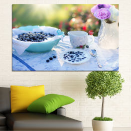 Flower, Drink, Blueberries, Morning, Food, Breakfast, Beverage, Cup, Porcelain » Purple, Turquoise, Green, Gray, White, Beige
